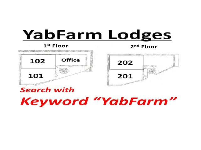 "YabFarm Lodges have 4 units, 101,102, 201, and 202.  Select your favorite unit by  searching with keyword ""YabFarm"" or ""Kashiwa""! The host is staying in the office on the 1st floor."
