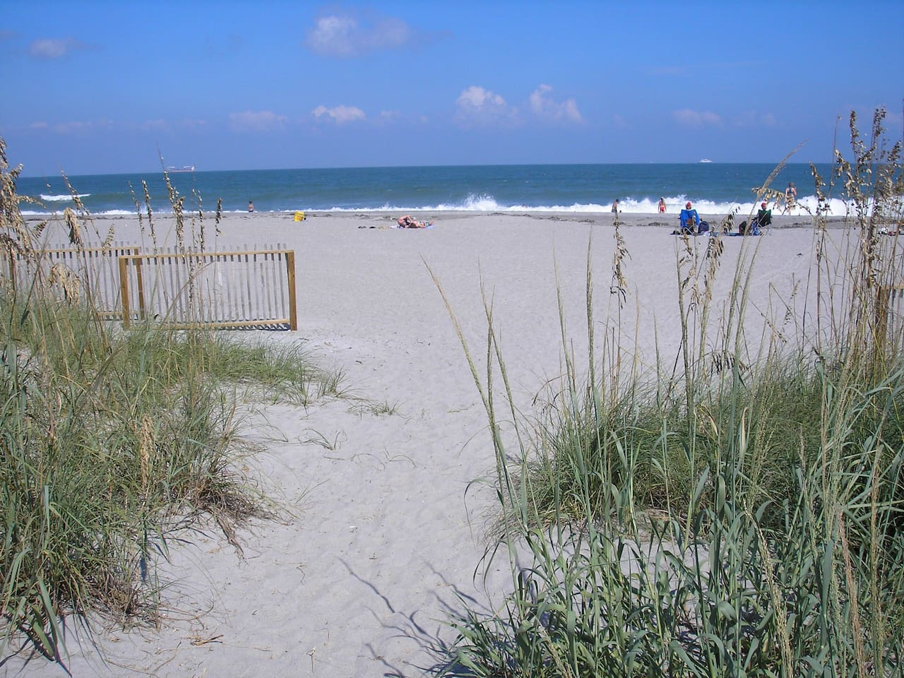 This is the entrance to the beach via our shaded path. Notice all the sea oats!