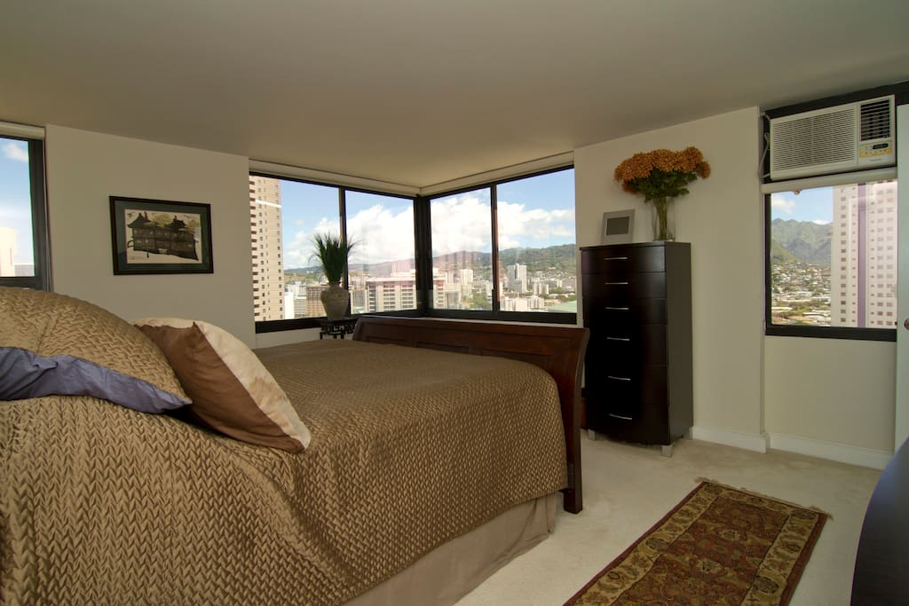 Master bedroom with views of the mountains in the mornings.