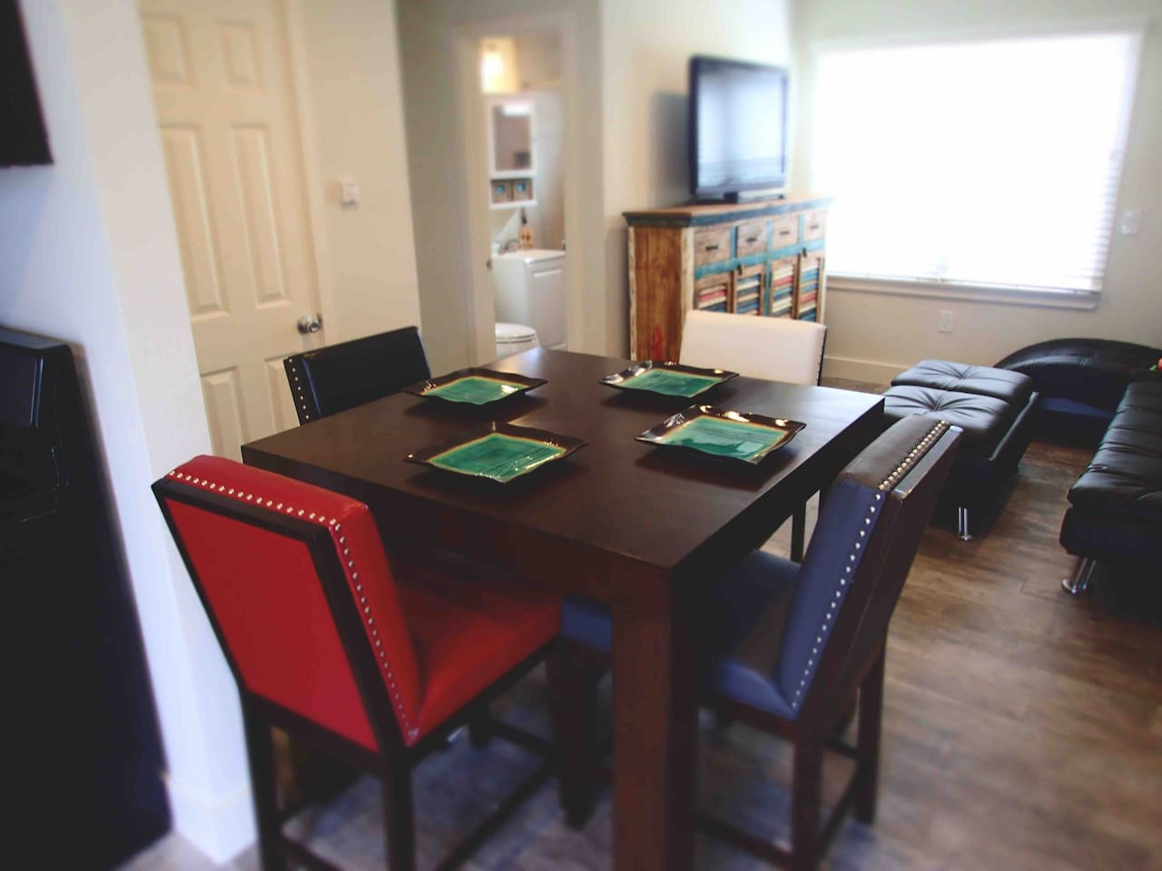 Leather comfortable high top table and chair bistro style