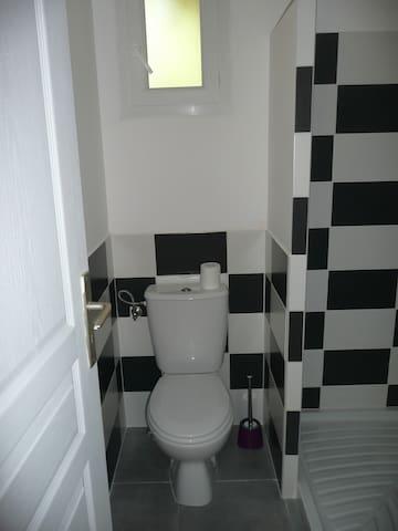 Salle d'eau avec toilettes
