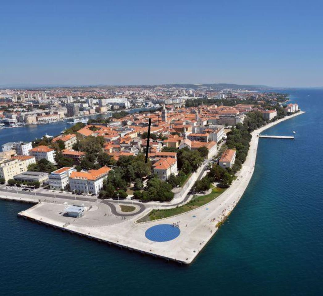 Panoramic view of Zadar and apartment