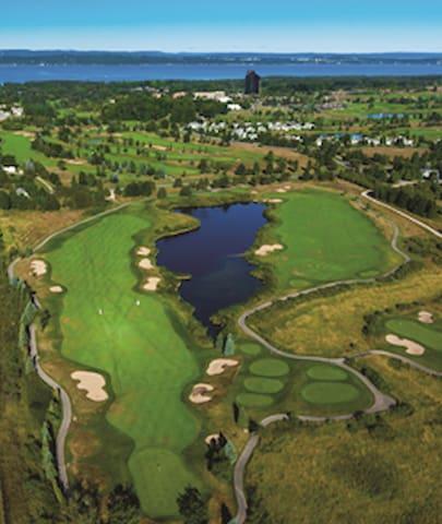 Beautiful grand traverse resort, showing how close to beautiful grand traverse east bay