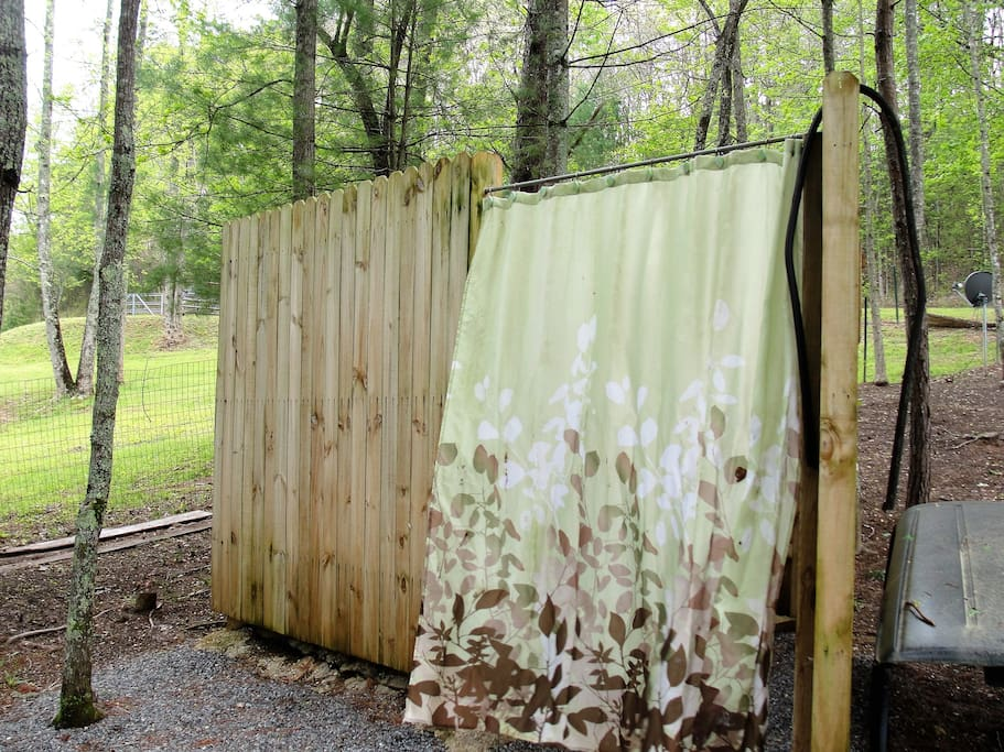 Great outdoor shower with hot and cold water.