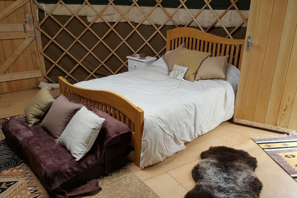 Double bed in yurt