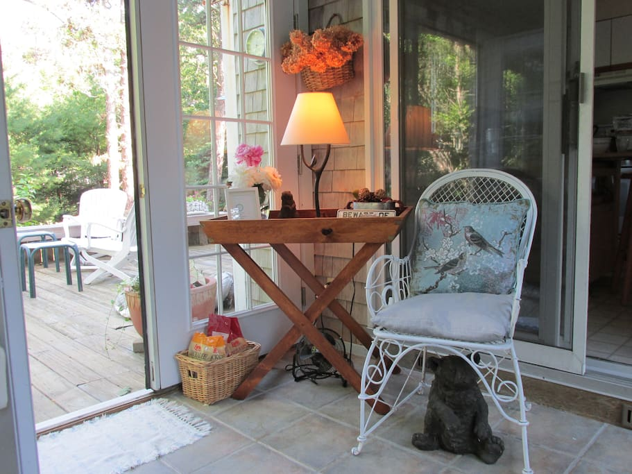 The sunroom -- looking out onto our spacious deck and gardens