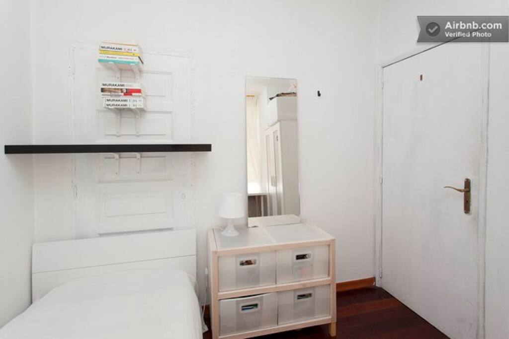 The room is small but is have everything that you need: bed, shelf, mirror ...