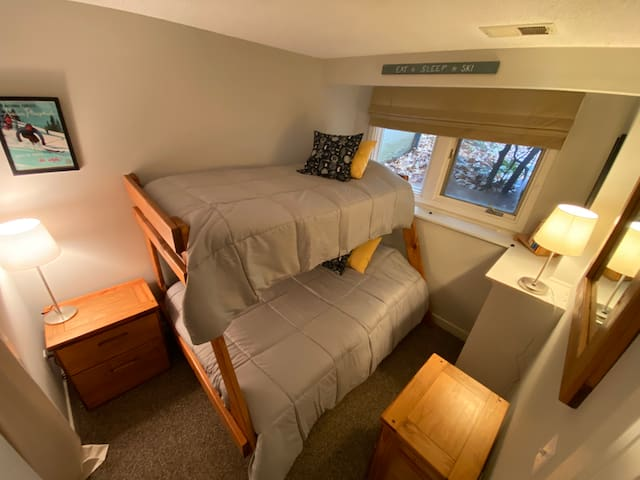 Second bedroom.  Twin over a double bed.