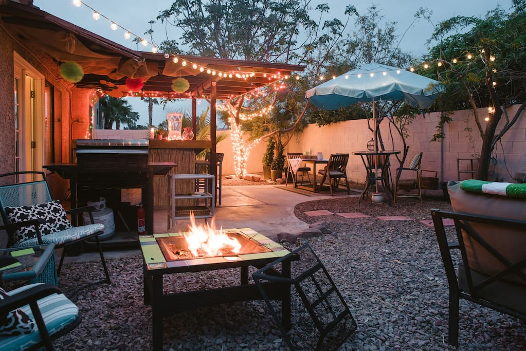 Our backyard is filled with fun, relaxing spaces to enjoy a cool drink, lounge by the firepit or BBQ a terrific meal. The 300+ days of sunshine in our great state (and no flying bugs!) makes having outdoor space a MUST when visiting Las Vegas. Yes, we're 420 friendly when consumed in the backyard.