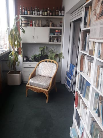 Terraza cerrada con vista a la calle, fachada sur. Lugar especial para fumadores y para lectura.