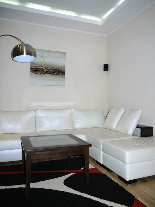 comfortable and convertable leather sofa in the living room with coffee table