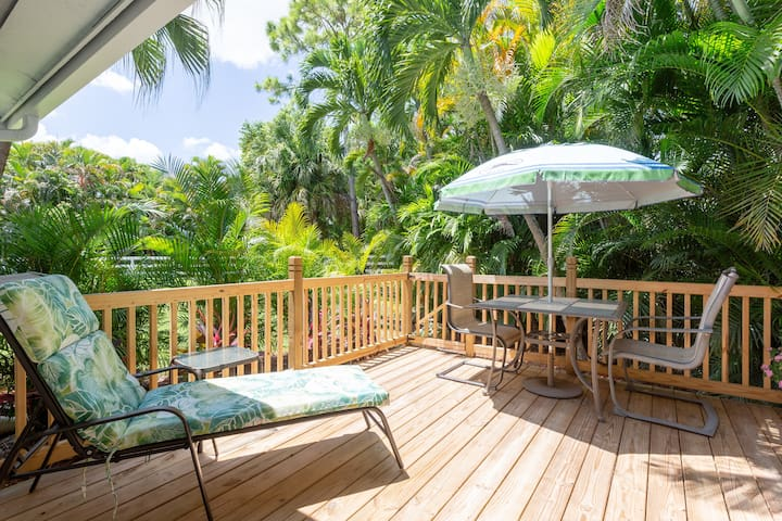 VERY PRIVATE PATIO DECK FOR DINING AND RELAXING JUST OUTSIDE YOUR MASTER BEDROOM DOOR