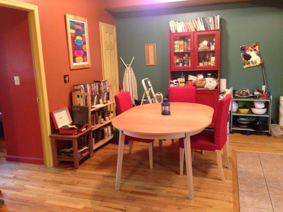 This is the dining and sitting area, which can fit six comfortably.
