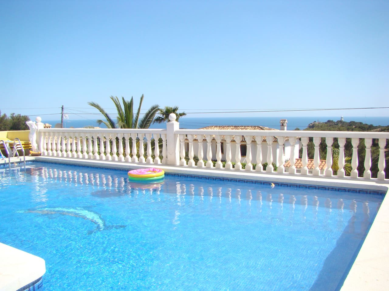 The pool has magnificent views over the Mediterranean and the local lighthouse