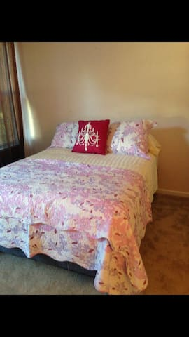 Our rose colored room is bright & cheerful!