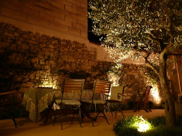 Private courtyard at night
