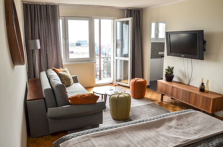 Panorama Apartment with old town view free parking - Toruń - Apartemen