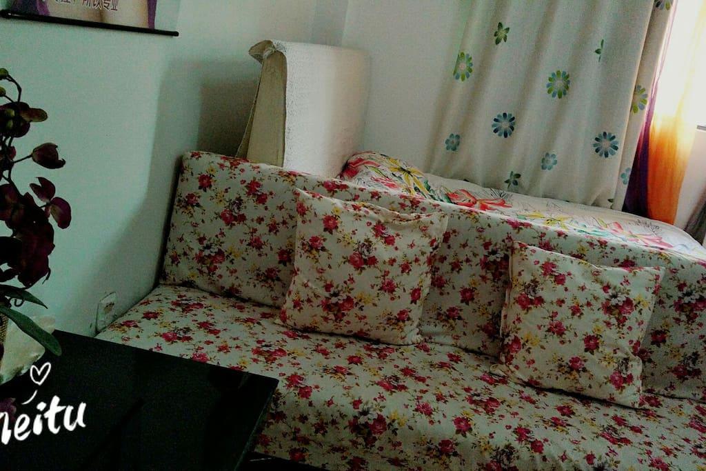 沙发床,可以平铺打开,背后的俩小木棍一定要安装,起支撑作用。