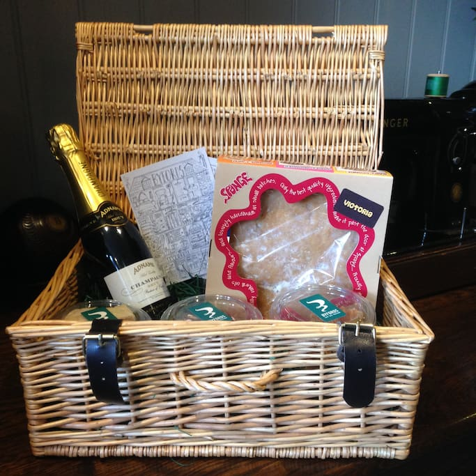 Optional hamper - cake supplied by Byfords of Holt plus Prosecco