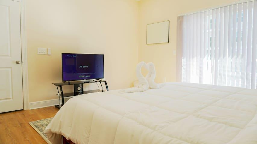 LED Roku SMART TV in the master bedroom.