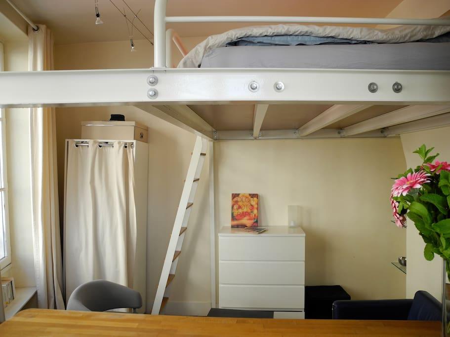 Bed on mezzanine
