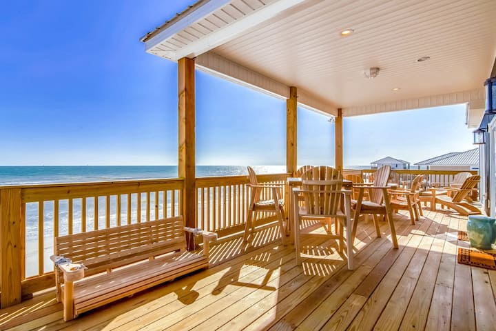 Newly built dog-friendly beachfront home w/ stunning ocean views, and gas grill!