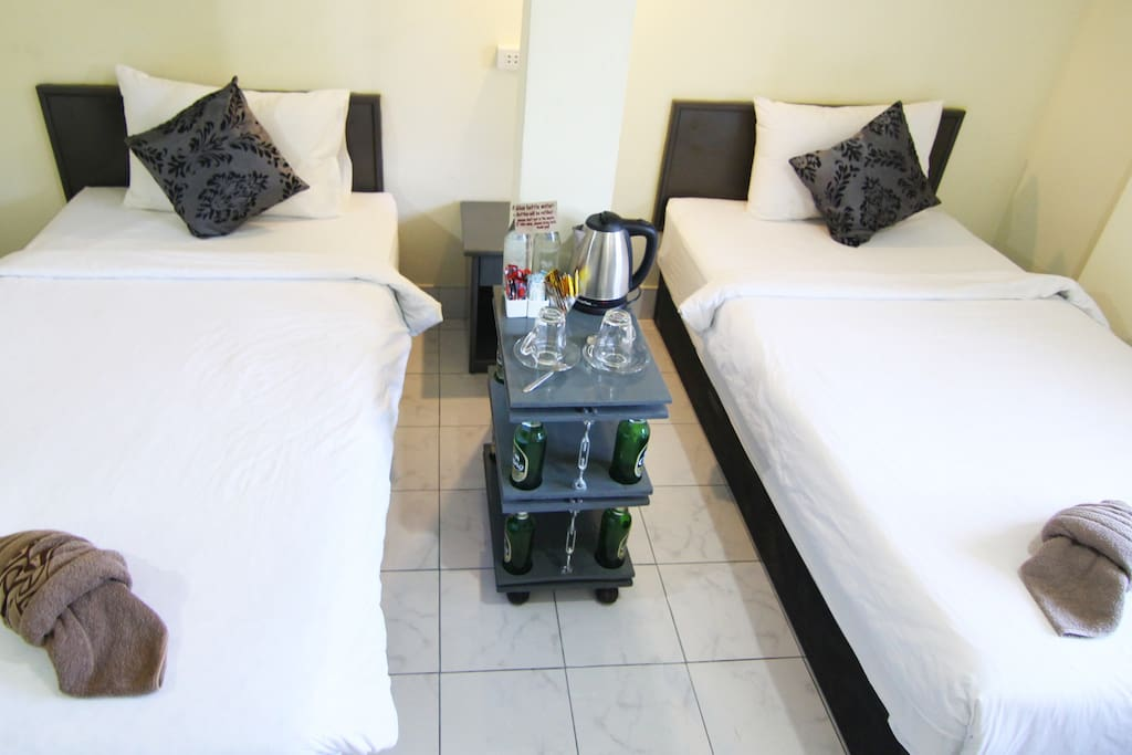 Standard *upcycled* A/C Twin Room w/ two Beds.  Cofffee & Tea Facilities