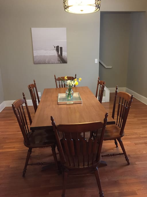 Dining room. Upon request table leaves and chair can be added to accommodate up to 10.