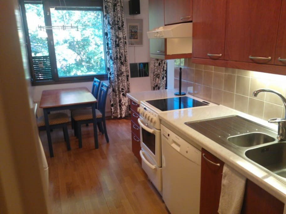 Walk-through kitchen with adjoining dining area for 4 persons. Ceramic stove and electric oven for cooking.