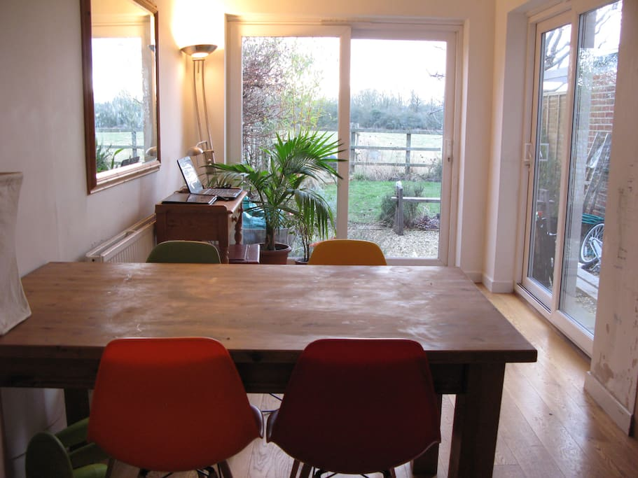 dining room adjoins the kitchen, with easy access to the garden
