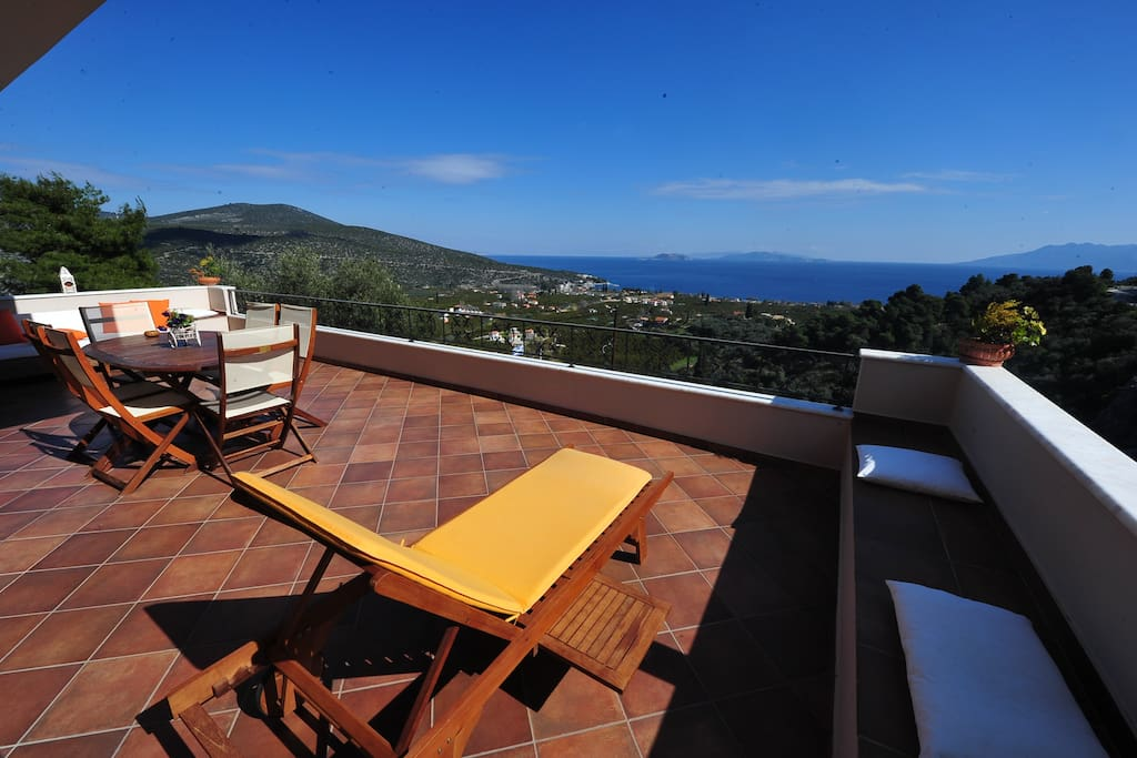 Modern Villa In Ancient Epidaurus, Wonderful Balcony with Exquisite Sea View