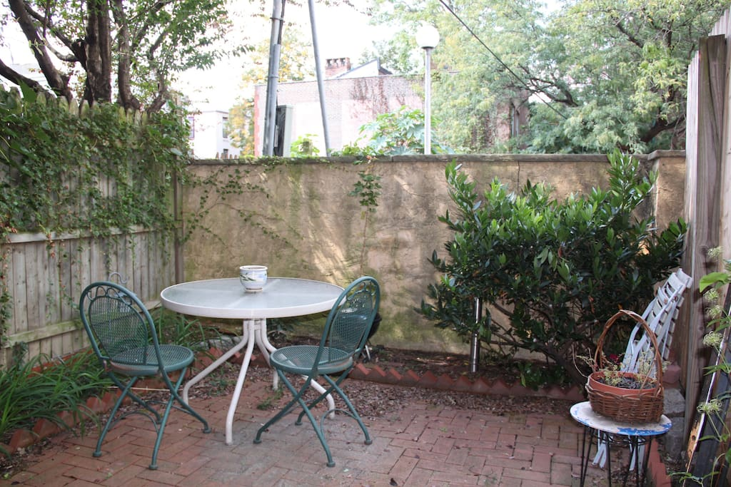 Backyard garden with a catty-corner view of the community garden