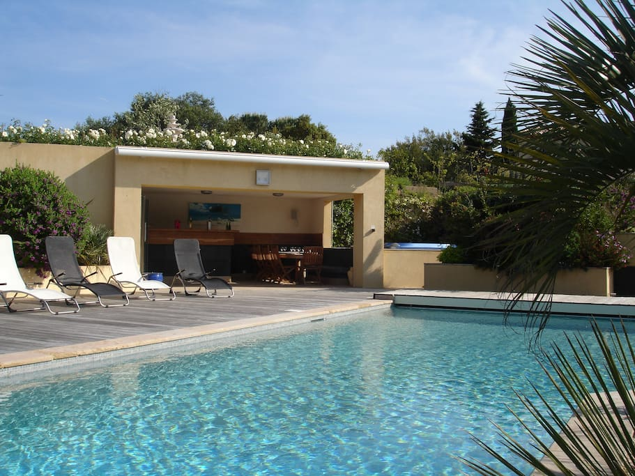 Pool area and pool house