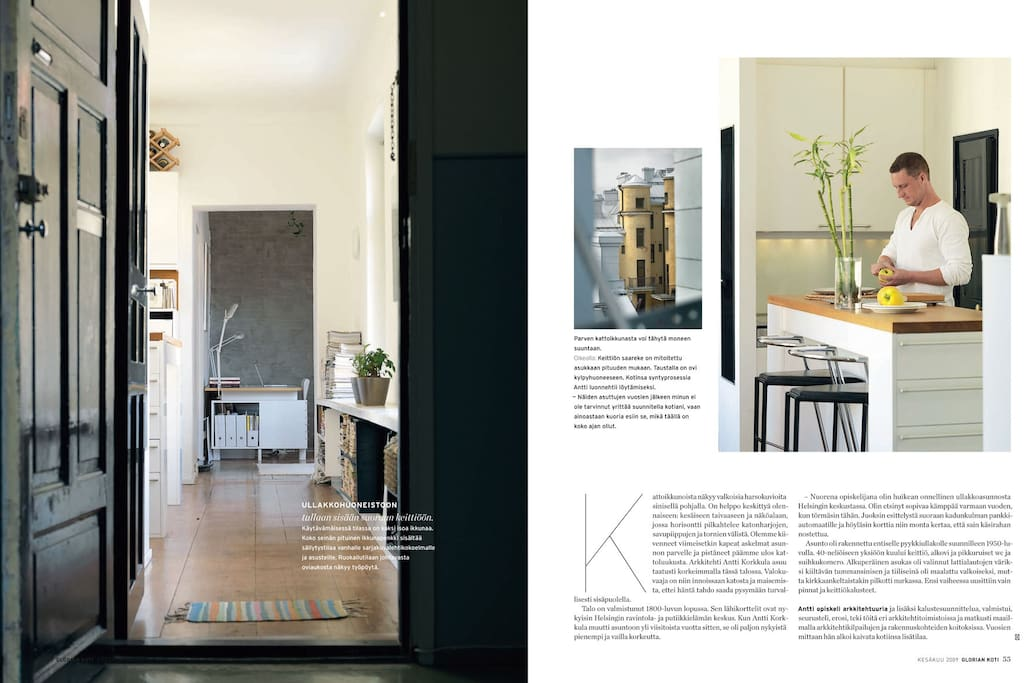 Entrance and bar kitchen in an interior magazine story.