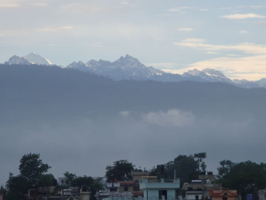 View of Ganesh and Manaslu Himal from the terrace of the home during summer time!