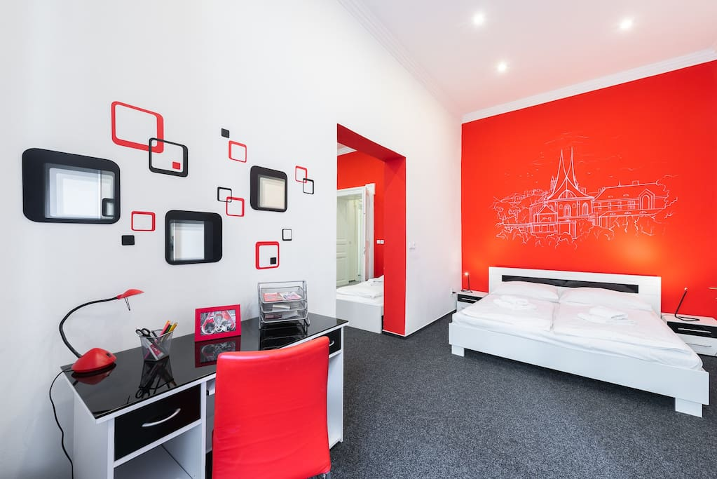 2nd bedroom with one double bed.