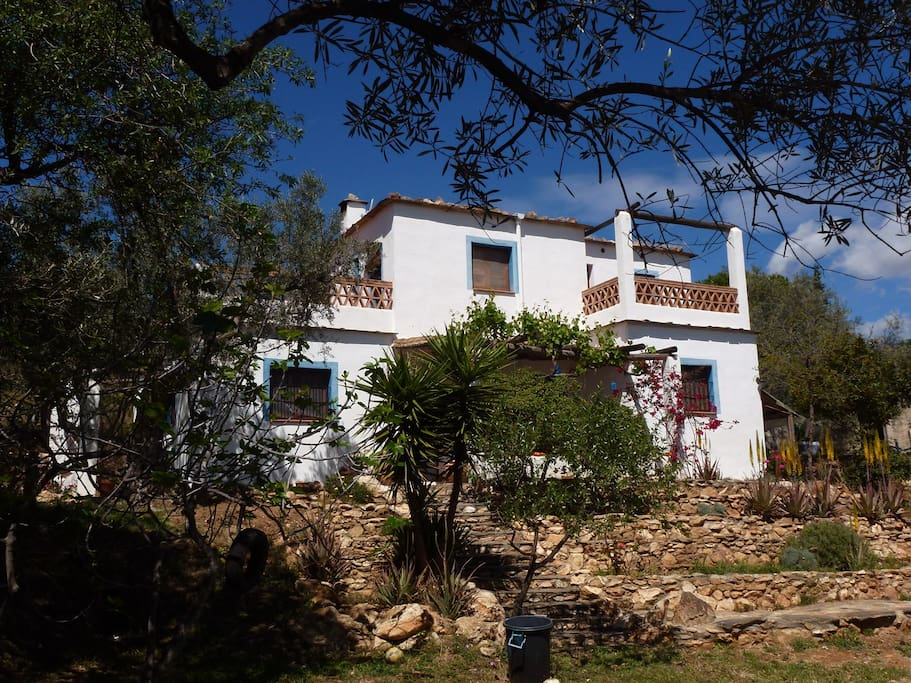 La fachada principal, disponible la planta alta con las dos terrazas.