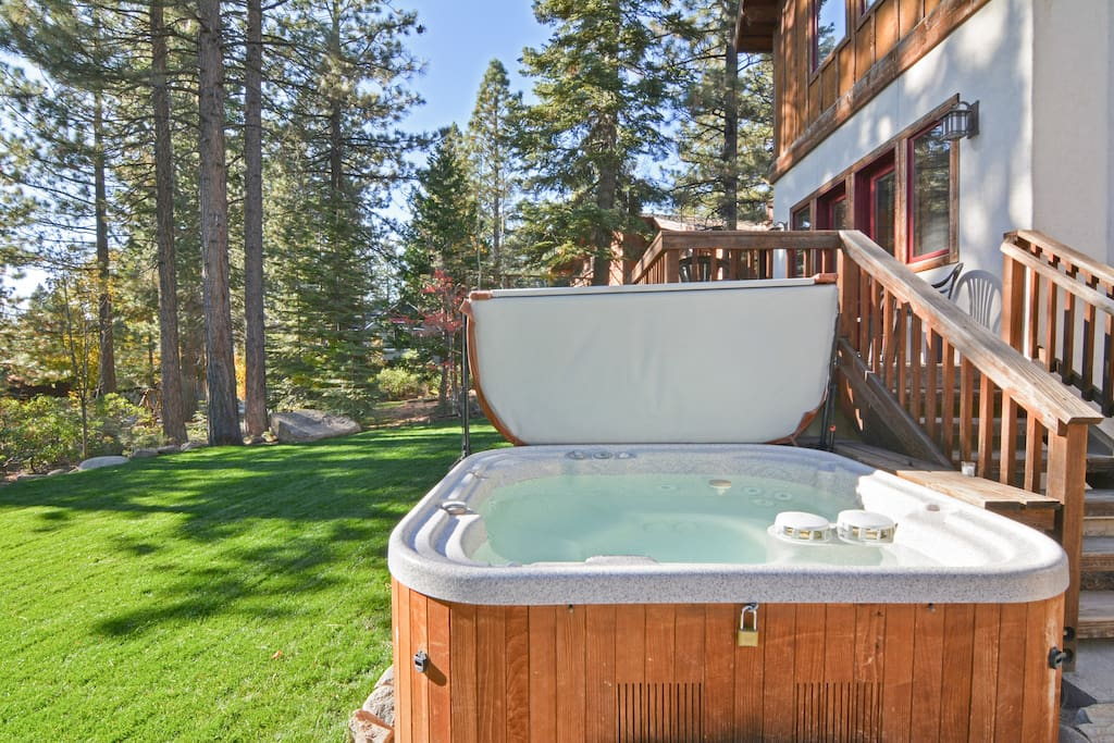 Slip into your private hot tub in the backyard.