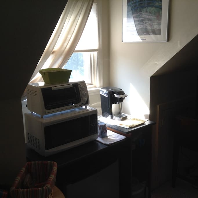 Mini frig, microwave, toaster oven, coffee brewer