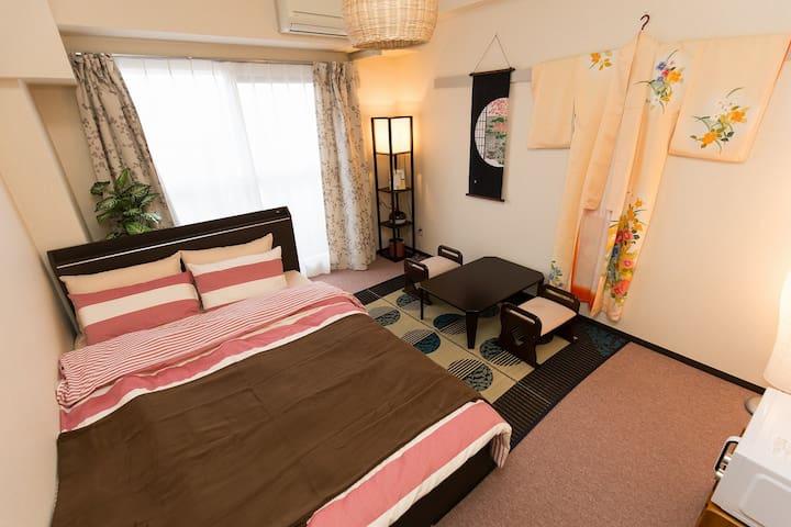 5min→STA Easy to Namba 4pax KIMONO - 大阪市中央区 - Appartement