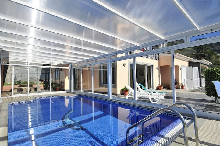 Large terrace with heated pool