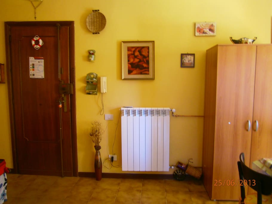 home entrance (one of radiators for winter)