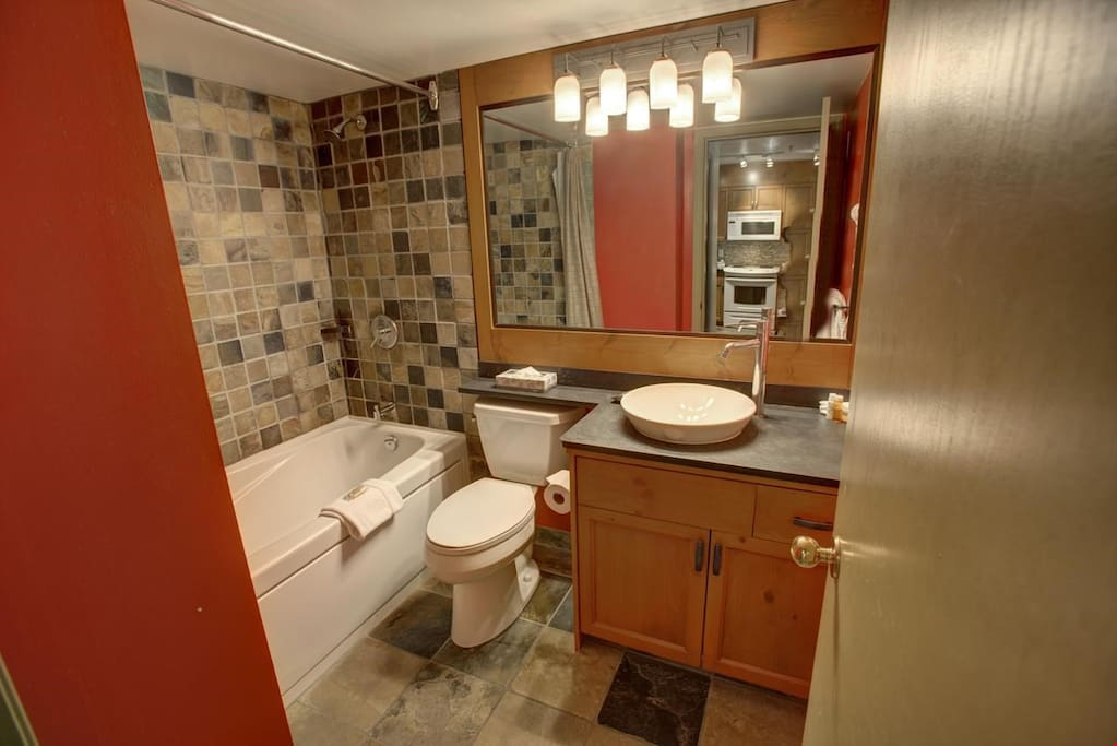 The updated bathroom provides enough space for everyone to get ready for the day ahead.