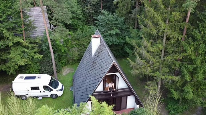 Riverside lodge underneath the trees