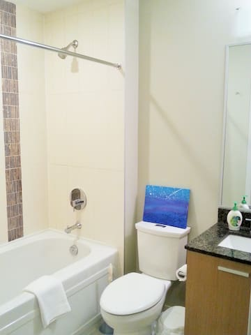 Private bathroom. Soaker tub and shower head.  Hair dryer with dual hot/cold settings in bathroom cabinet.