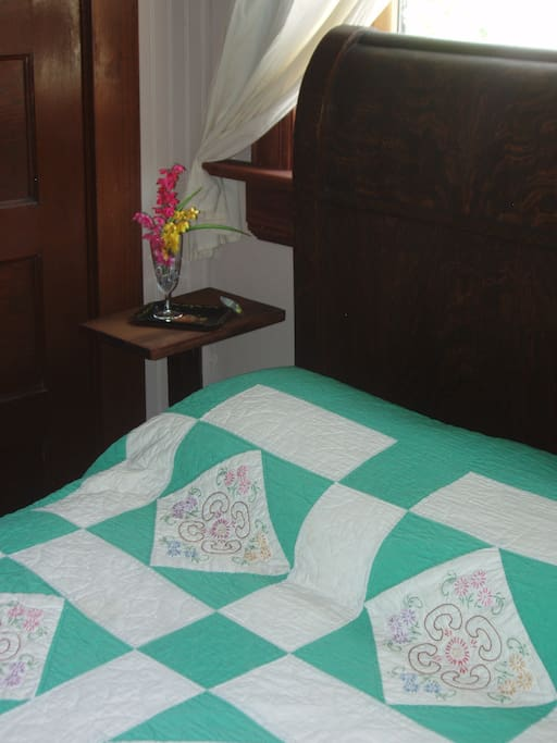 Grandma Tea Party's Suite:  Quilt and bedside detail.  Simple comforts for your enjoyment!