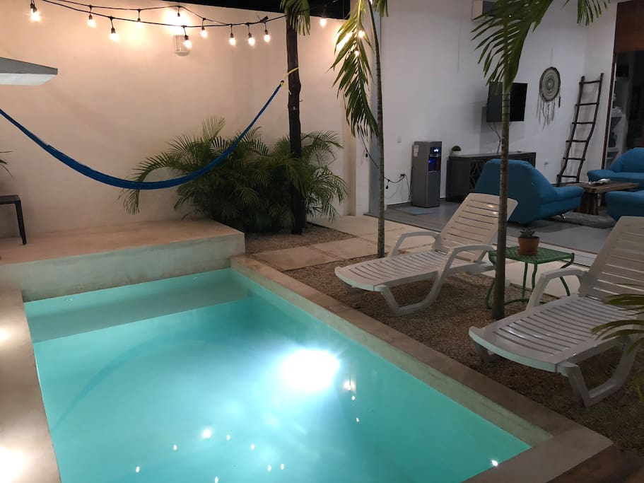 Private pool is great for day or night time carribean dips