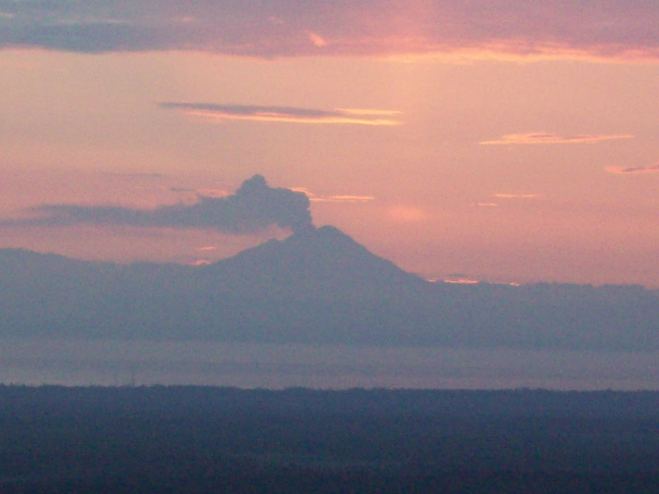 We see three active volcanoes from the property