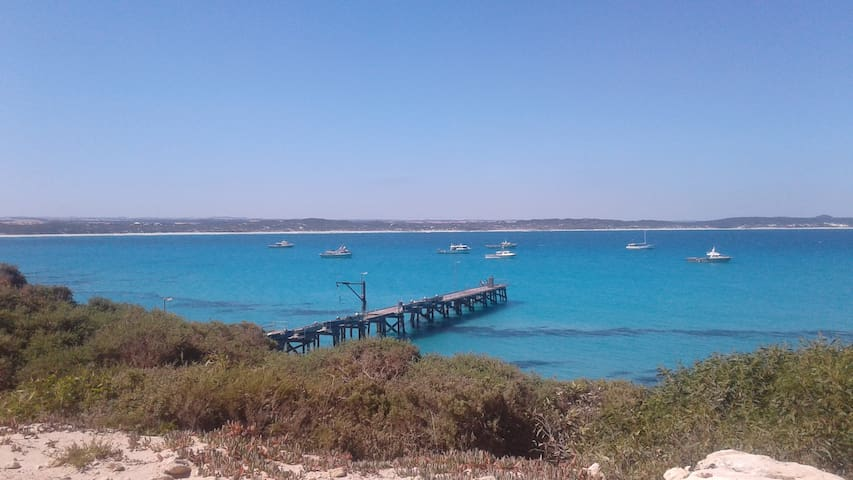 Vivonne Bay jetty and the cray fishing port. The house sits across the bay from here in the Harriet River Township.