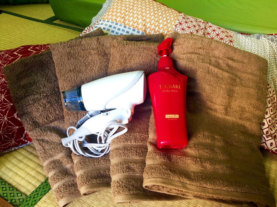 Bath towels and a hair dryer
